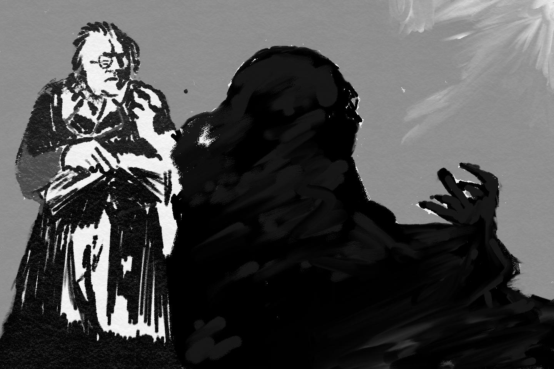 Dr. Caligari steht vor einer Wand und wirft einen Schatten.